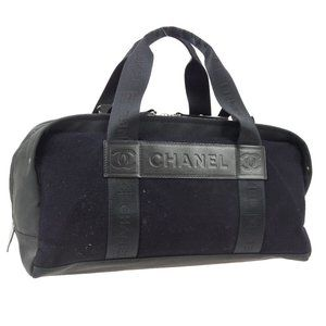 CHANEL Sport Line CC Boston Hand Bag Purse Black W